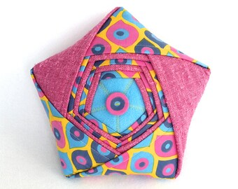 Origami Star Pillow - One of a Kind Unique Folded Fabric Star - Pink Yellow & Blue Handmade Reclaimed Fabric Plush