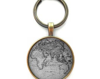 World map keychain double sided globe keyring gift for black and white globe keychain gag gift accessories wanderlust world map keychain christmas stocking gumiabroncs