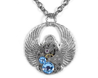 Steampunk Jewelry Necklace Vintage ELGIN Watch Steam Punk Egyptian SCARAB Wings AQUA Crystals Holiday Gift Men Women - by Steampunk Boutique