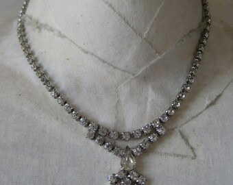 Rhinestone Necklace Clear Silver Vintage
