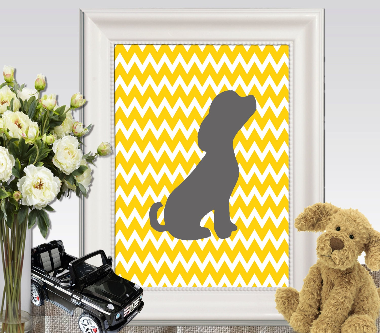 Puppy print Dog decor Yellow gray nursery decor Nursery dog
