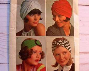 Misses Turbans for Stretch Knits Only   4 Styles   chemo cap, sleep cap   Simplicity 5772   vintage 1973 cut used complete sewing pattern