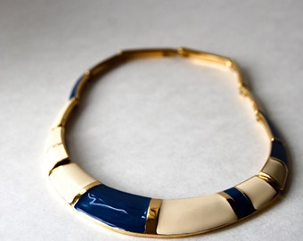 Beautiful Blue Ivory and Gold Signed Trifari Necklace