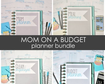Mom on a Budget Planner Bundle, Busy Mom Printable Planner, Budgeting, Cleaning, Meal Planning, Instant Download, 46 Pages