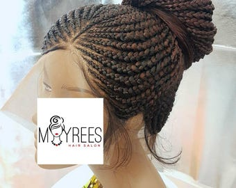 360 frontal tribal cornrow braided wig in colour 33. Lenght 28 inches