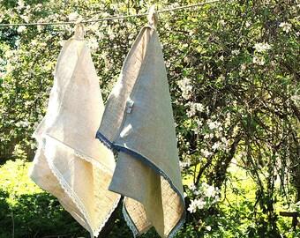 Linen kitchen towel with thin romantic lace 19''X28''/50X70cm Linen tea towel Dish towel Romantic lace Burlap linen towel Blue lace towel