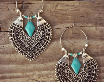 Ethnic earrings, earrings Bohemian, tribal earrings, silver, ethnic hoops, hoop earrings