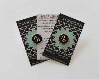Capricorn Horoscope Astrology Pin Small Hard Enamel // ready to ship, .75 inch, with sign info, gift, black silver or rose gold
