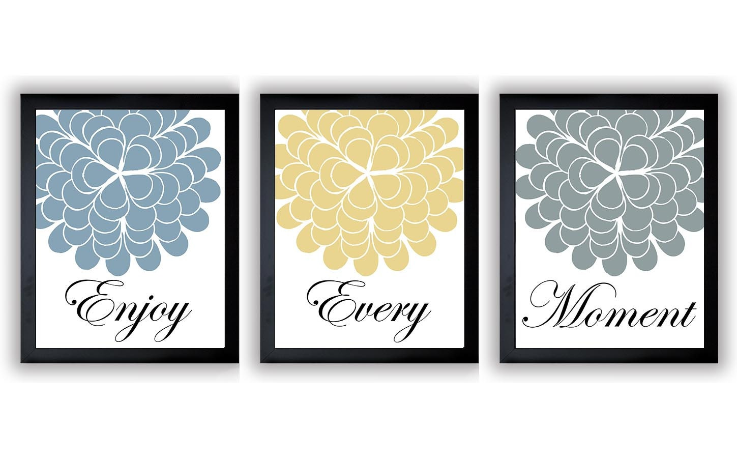 INSTANT DOWNLOAD Blue Yellow Grey Enjoy Every Moment Set of 3