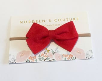 Red Felt Bow Headband, Felt Bow Headband, Red Bow Hair Clip, Red Baby Hair Bow, Felt Hair bow Clip, Baby Felt Headband