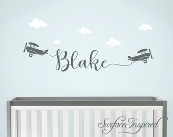 Baby Boy Wall Decal Etsy - Nursery wall decals clouds
