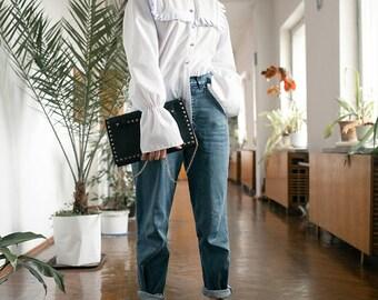 Mixed buttons shirt, white shirt, white blouse, cotton shirt, cotton Blouse, fringes