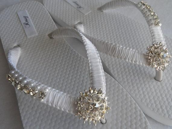 5f8e21ae5 Wedding Flops Shoes Bridal White Rhinestone Flip White Pearls Flip Sandals  Color Flops amp  ...