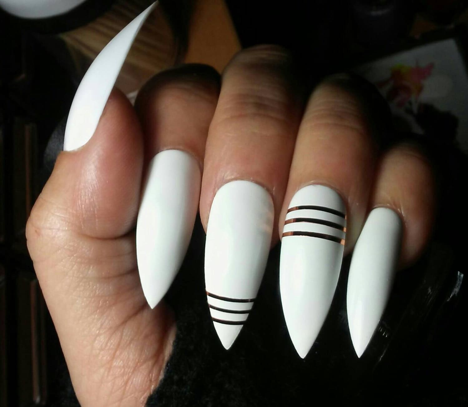 Stiletto Nails Long White w/ Gold Striping Tape * Acrylic Press on ...
