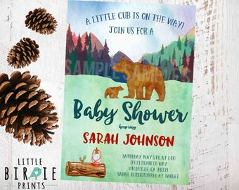 BEAR BABY SHOWER Invitation Cub baby shower invitation Outdoor Tribal baby shower invitation Woodland Baby Shower invitation Mountains
