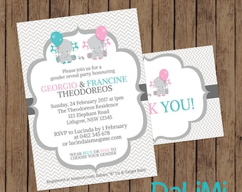 Gender Reveal Baby Shower Invitation - Pink and Blue Invitation - Elephant Shower Invitation - Gender Reveal Party - Elephants