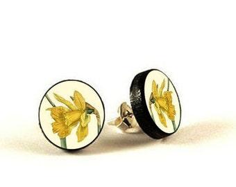 Daffodil -  handmade stud earrings - decoupage