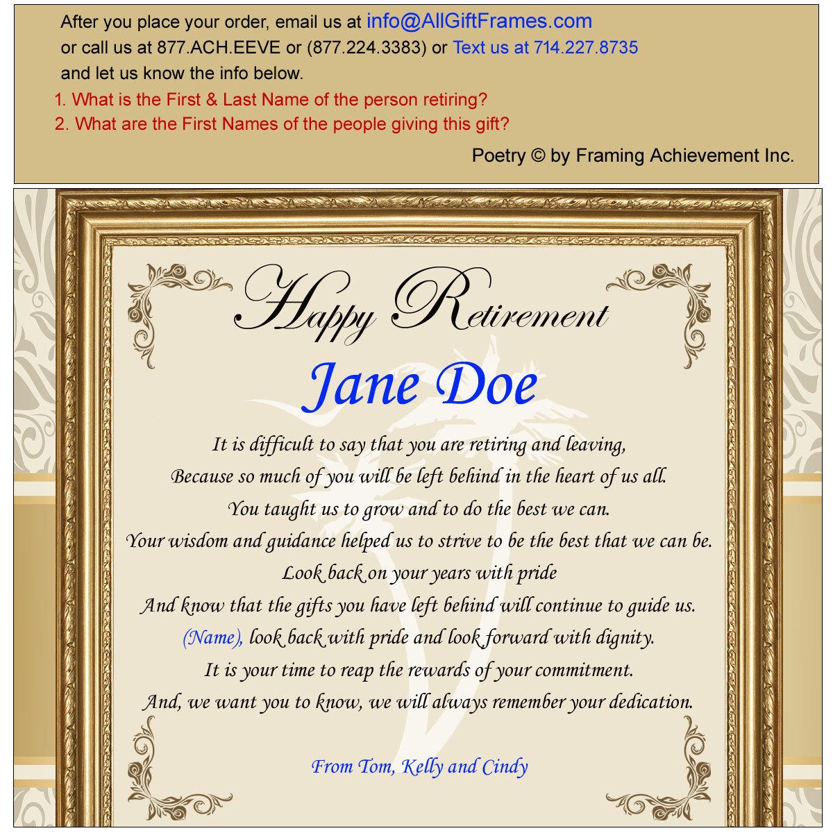 Retirement Poem Colleague Boss Coworker Good Luck Friend