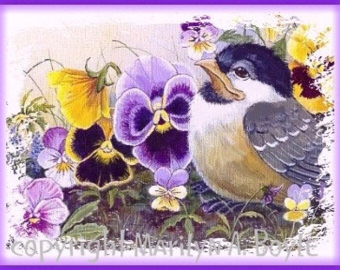 SET of FOUR CARDS, blank cards, birds, size 4 x 5 inch approximately with envelopes, garden birds, wings, feathers, flowers, bright colors,