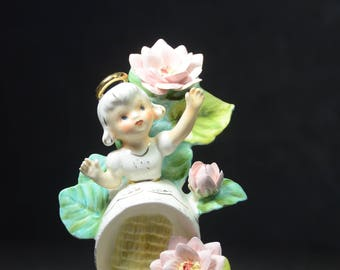 Vintage Lefton China Girl Angel Flower of the Month July. Lefton Figurine. Lefton Flower Girl of the Month. 1950s Lefton. #7119