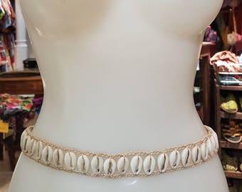Macrame belt braided with shells, hippie belt, boho belt, tribal belt