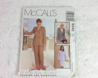 McCall's 9342 Sewing Pattern Misses' Lined Jacket, Pants and Skirt Sizes 10, 14, 16 / Palmer Pletsch / fit for real people / career wardrobe