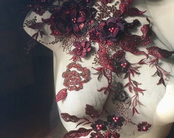 BURGUNDY 3D Lace Applique , Beaded and Embroidered for Lyrical Dance, Ballet, Couture Gowns F15