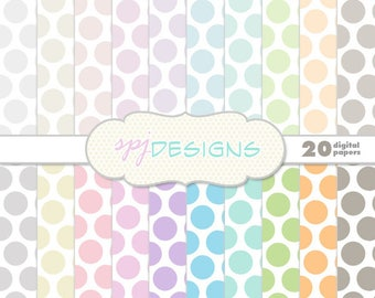 20 Pastel Polka Dots/Spots Digital Printable Scrapbooking Paper Background