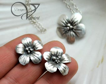 Cherry blossom Fine / sterling silver earrings and pendant set