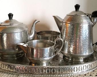 antique tea set, pewter tea set, pewter, bakelite, craftsman tea set, hammered pewter tea pot, coffee pot, sugar bowl, creamer, milk jug