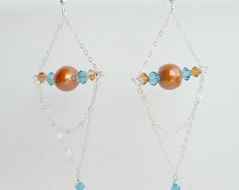 Sterling Chain Chandelier Earrings, One of a Kind Handmade Earrings