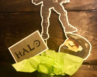 Handmade Halo Birthday Cupcake Toppers or Centerpiece Stakes