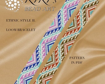 Bead loom pattern, ethnic style II. LOOM bracelet cuff pattern in PDF - instant download