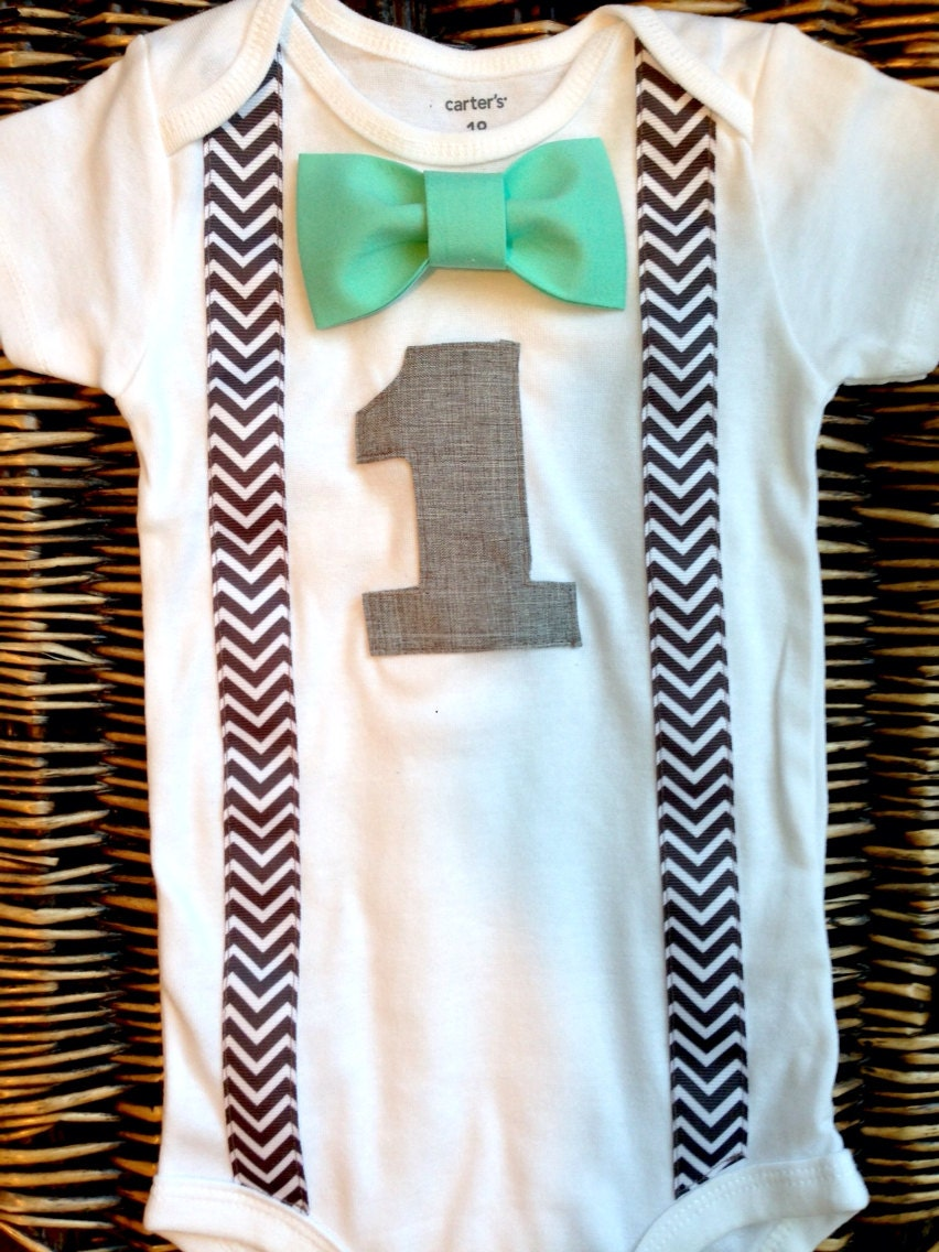 Boys First Birthday Outfit Baby Boy Clothes Grey Chevron