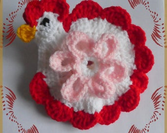 Decorative crochet red and white houndstooth
