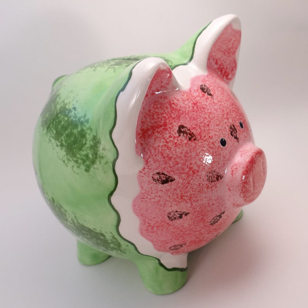 zoom Watermelon Piggy Bank Personalized Ceramic Piggy