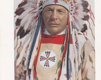 "Wonderful Blackfeet Indians Print, Rich Color, 6.5"" X 10"""