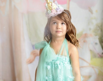 Unicorn flower lace crown headband || gold or silver + pastels || Unicrown || Original design