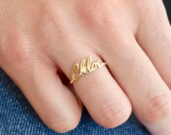 Gold Name Ring - Gold Ring - Name Ring - Name jewelry - Custom Name Ring - Bridesmaid Gift - Personalized Ring - Ring - Mothers Day Gift