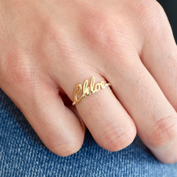 Gold Name Ring Gold Ring Name Ring Name jewelry Custom