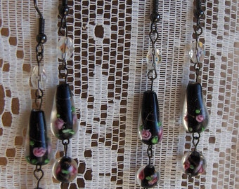 Black Rose Earrings, Rustic Goth Haunted Rural Midwest Gothic Dark Rural
