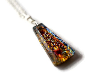 Kaleidoscope Galaxy Constellation Necklace, Mosaic Glass Pendant, Sterling Silver Necklace, Fireworks Necklace, 3D Necklace, Micro Mosaic