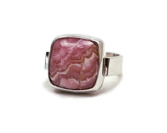 Rhodochrosite ring with wide modern silver band