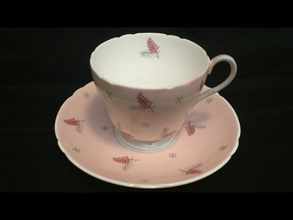 FREE SHIPPING-Very Rare-Fabulous-Pink-Mid Century-Shelley-Pattern Lyric-Made England-Fine Bone China-Tea Cup And Saucer