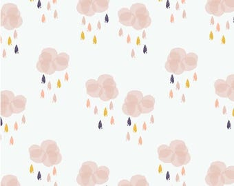 Kids Autumn Rain - Dashwood Studio fabric cotton Bethan Janine - rainy clouds - design by 50cm (110 x)