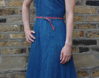 True vintage 1970s denim sun dress, XS