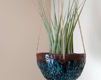 Blue Textured Handmade Ceramic Hanging Plant Pot