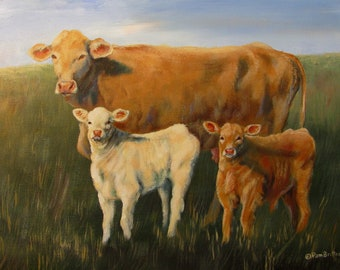 Original Painting Mama Cow and Two Babies 12x16 Unstretched Canvas