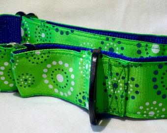 1 1/2 Inch Martingale, Dog Collar, Sighthound, Greyhound, Green Dots