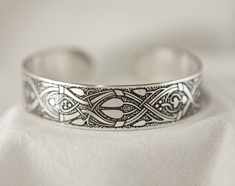 Celtic Art Cuff Etched in Sterling Silver from the Abercorn Church, Linlithgow. Handmade in Ireland.